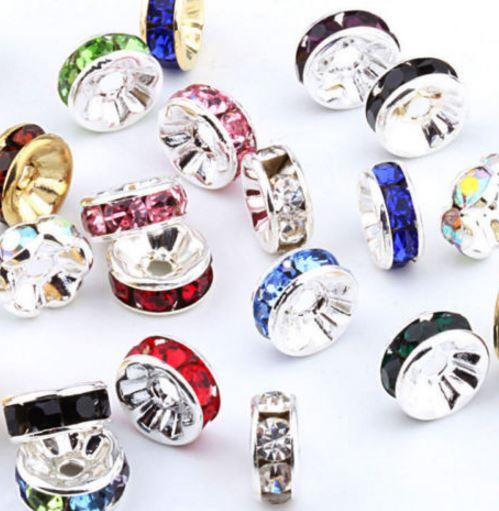 6 мм 8 мм 10 мм 12 мм X44ERER смешанные Кристалл Rhinestone металла Rondelle Spacer посеребренные DIY бусы Цепочки и ожерелья браслет оптовая продажа
