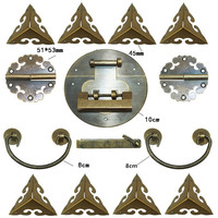 Chinese Brass Lock Set,For Wooden Box,Vase Buckle Metal Box Hasp Latch Lock,Decorative Hasp,Pattern Carved Hinge+Handle+Lock