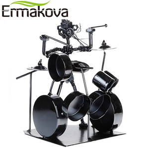 Image 3 - ERMAKOVA Metal Musician Drum Player Statue Drummer&Drum Set Sculpture Figurine Ornament Cafe Counter Office Book Shelf Decor