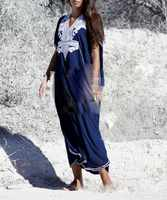 2019 Summer Plus Size Kaftan Cotton Beach Dress Cover Up Women Embroidery Long Maxi Robe Boho Sundress