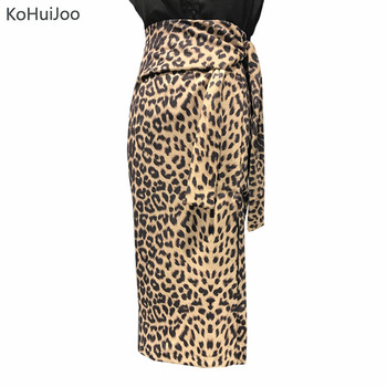 KoHuiJoo Autumn Women Long Pencil Skirt High Waist Fashion Belted Leopard Skirt Ladies Sexy Party Skirts Bodycon Юбка
