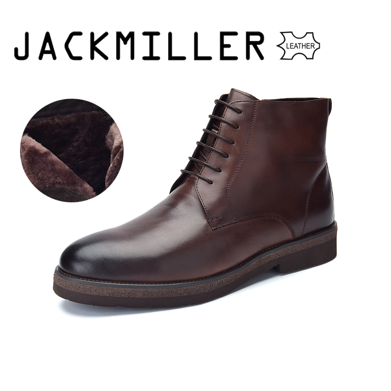 Jackmiller Winter Men Boots Cow Leather Boots Men Basic Brown Color Wool Lining Warm Lace Up