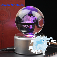 Free Shipping Cool Anime Action Pokemon Go Figurines Miniature 3D Alolan Ninetales Crystal Glass Pokeball Desktop Decoration