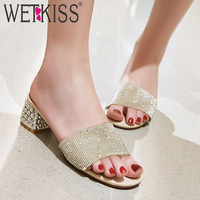 WETKISS Crystal Heels High Slippers Women New Slides Shoes Fashion Wedding Mules Shoes Female Transparent Pvc Summer Shoes Lady