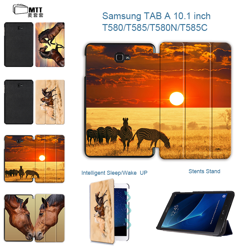 MTT Akhal-teke Horse Case For Samsung Galaxy Tab A a6 10.1 2016 T585 T580 SM-T580 T580N Smart Case Cover PU Leather Funda Tablet fashion painted flip pu leather for samsung galaxy tab a 10 1 sm t580 t585 t580n 10 1 inch tablet smart case cover pen film
