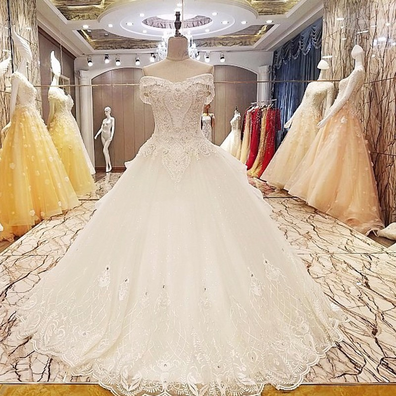 Backlake Real picture wedding dress lace up back ball gown lace wedding dresses organza vestidos de noiva