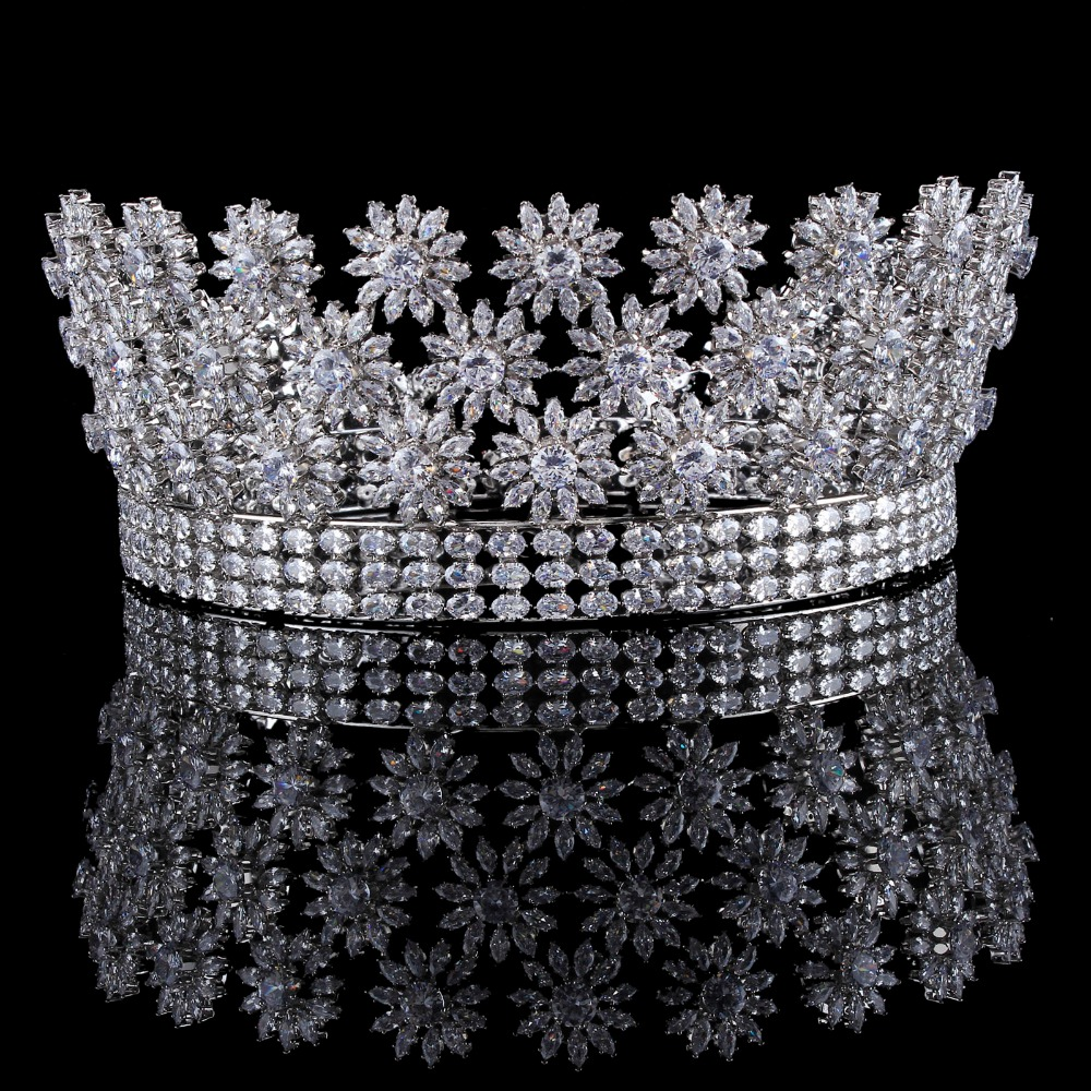 Full AAA Zircon Bridal Crown Flower Bride Hair Jewelry Crystal Tiara Princess Crown Wedding Hair Accessories hair jewelry girl crown crystal barrettes hair accessories shiny rhinestone crystal crown bridal wedding tiara flower child hair ornament