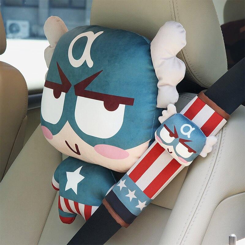 Pillow Belts-Cover Car-Headrest Deadpool Marvel-Avengers Spider-Man Captain Batman Superman