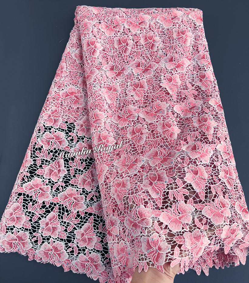 Small floral neat embroidery guipure lace big heavy African cord lace fabric for occasions high quality