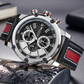 MEGIR люксовый бренд хронограф спортивные мужские часы Модные Военные Водонепроницаемые кожаные кварцевые часы мужские часы Relogio Masculino