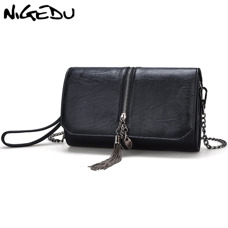 Fashion tassel Women Envelope Clutch bag Chain Crossbody Bags for Womens Messenger Shoulder Bags female PU Leather Day Clutche