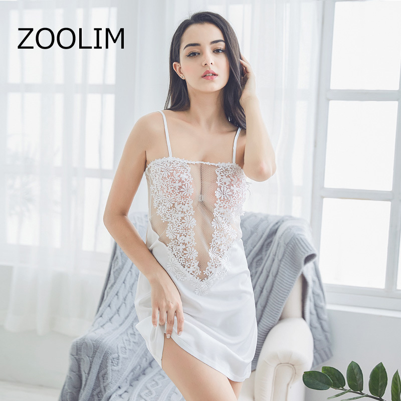 ZOOLIM Women   nightgowns     sleepshirts   Silk Sleepwear Satin Backless Sexy Lingerie Sapghetti Strap Lace Nightwear Home Clothing
