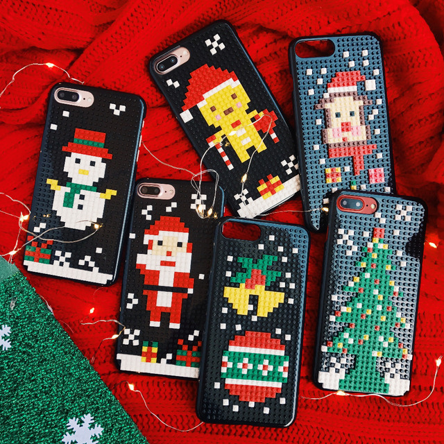 new products 984d0 37b2e Christmas phone case for iPhone 8 7 6 6s Plus 3D DIY lego building blocks  toy case for iPhone X XS Xiaomi samsung galaxy s7 edge