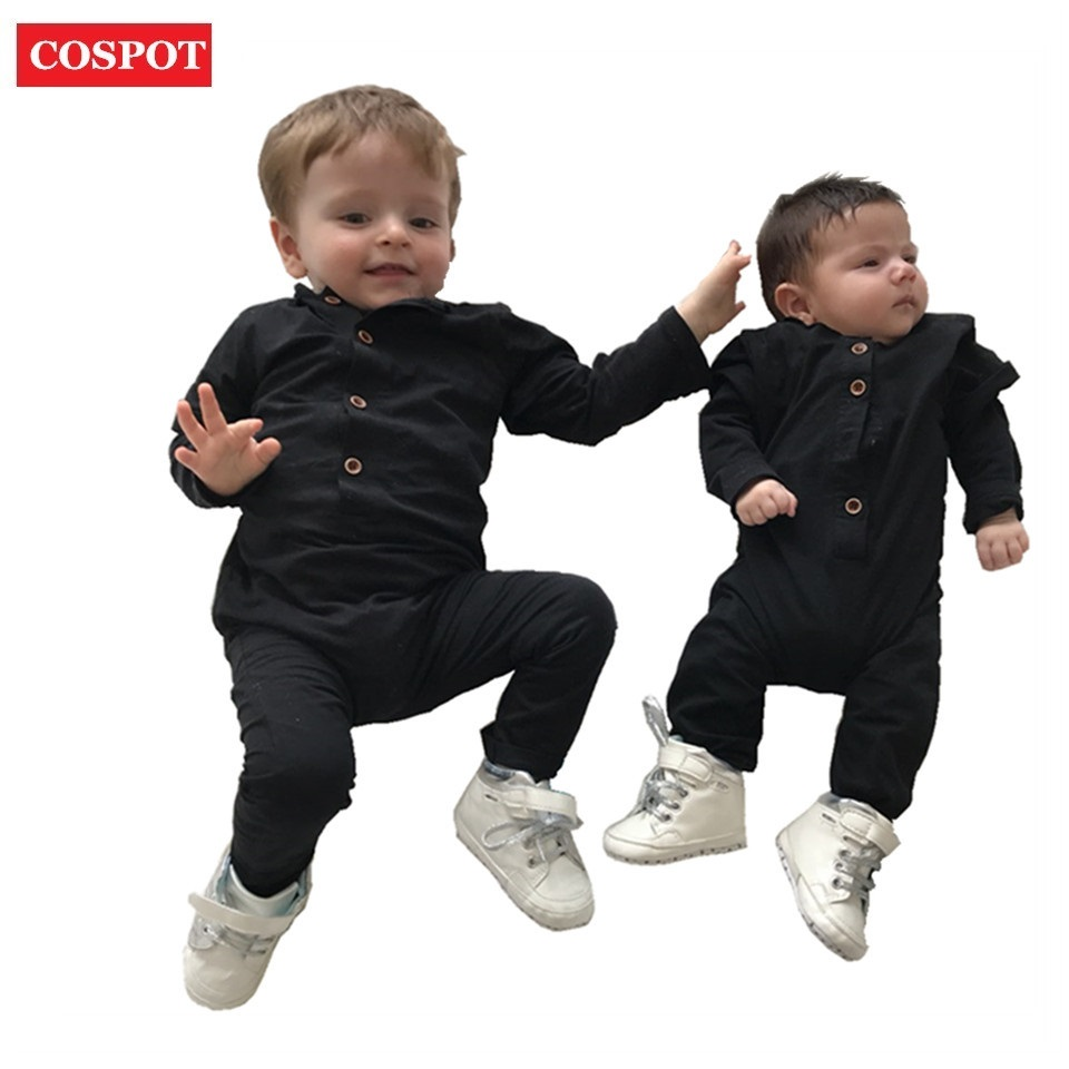 COSPOT Baby Boys Autumn Rompers Boy Cotton Long Sleeve Tank Jumpsuit Boy Spring Plain Color Black Gray Jumper 2018 New D35