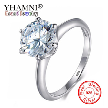 YHAMNI Luxury Classic 2 ct Ring Original 925 Sterling Silver Jewelry Clear CZ Zircon Wedding Engagement Ring For Women R1221
