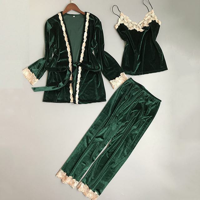 456207cf34 New Winter Velvet Pajamas Set Women Nightwear Full Sleeve Pijama Pyjama  Warm Home Clothing Bath Robe sleepwear Long pants