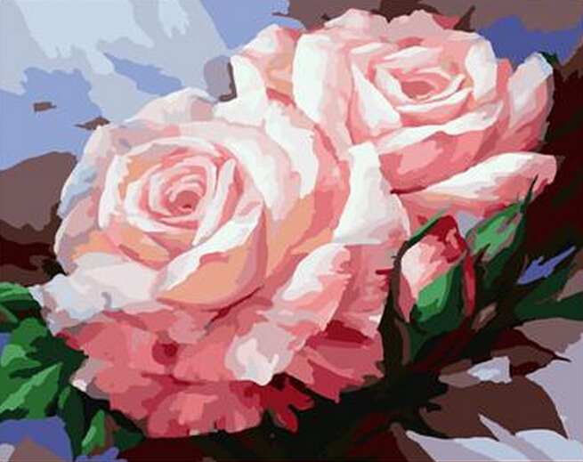 decoration top quality 40x50cm the frameless pictures paint by numbers digital oil painting on canvas flowers