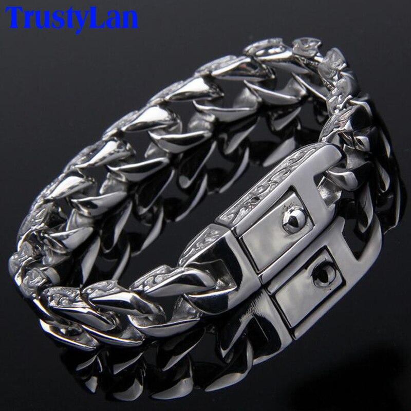 Prix pour Trustylan nouveau en acier inoxydable hommes de charme bracelets rétro hommes bracelets 2017 haute qualité cool hommes biker bijoux accessoire