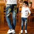 Ropa de los niños masculinos pantalones vaqueros del niño pantalones de primavera y otoño pantalones casuales niño masculino niño grande verano delgada pantalones individuales