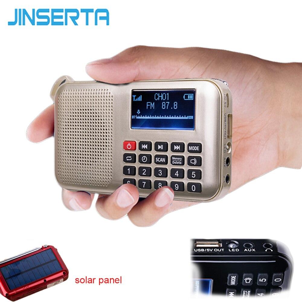 JINSERTA Solar FM Radio Mini Solar Power Speaker MP3 Music Player Emergency Solar Powered Radio with Flashlight Support TF card