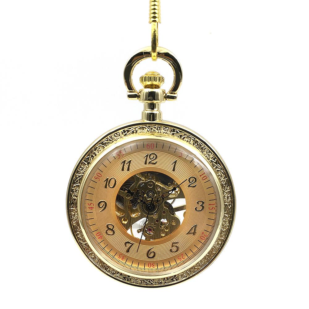Classic Open Face Full Gold Mechanical Hand Winding Pocket Watch Chain Fob Pendant Vintage Wind Up Men Women Watch Nice Gift