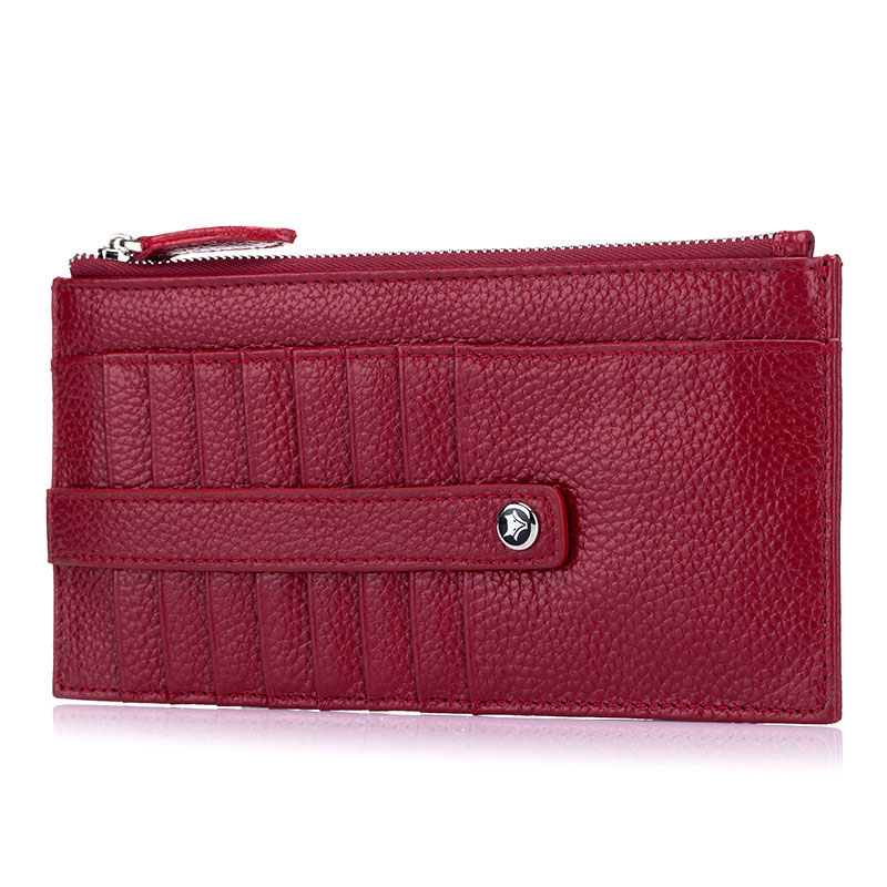 Women Solid Long Wallet First Layer Cowhide Multi-Card Bit Holder Men Fashion Genuine Leather Ultra Thin Ladies Clutch Purse