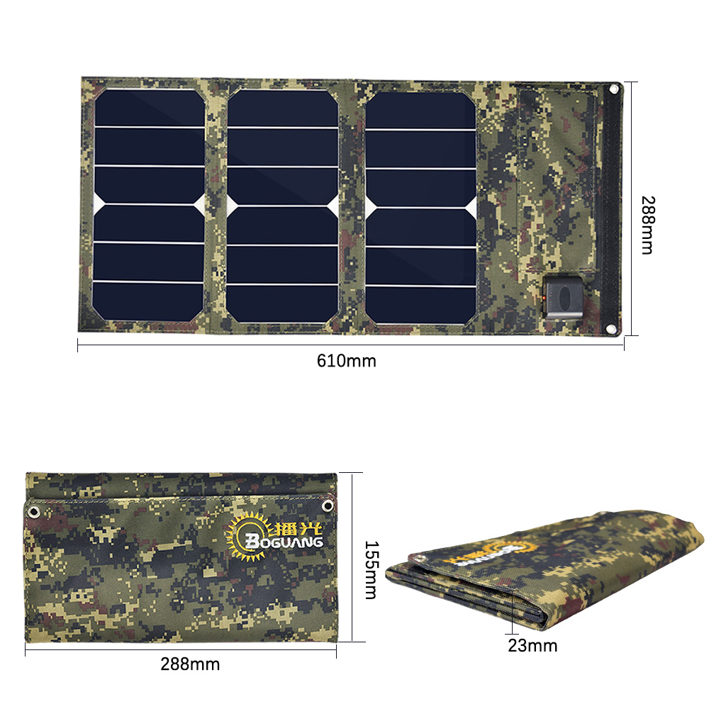 Xinpuguang 20W 10V Foldable Solar Charger Portable Panel Camouflage Waterproof Mobile Power Bank Phone Battery Dual USB 5V 2A