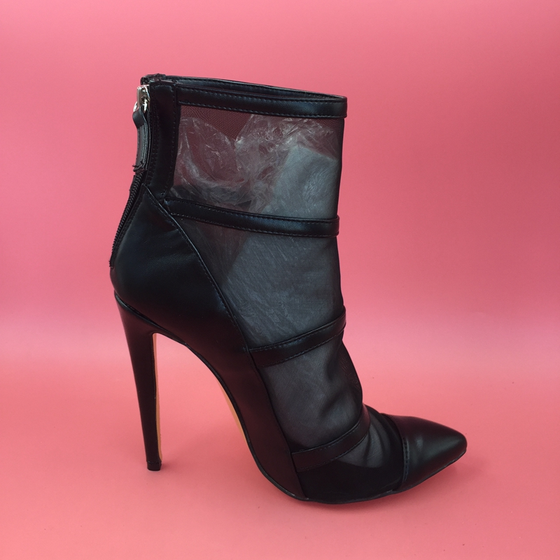 Black Pointed Toe Women Boots Mesh Fabric See Through High Heels Stilettos Ankle High Fall Style Women Booties Heel Ankle Boots see through mesh kimono