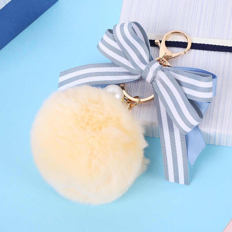 Милый полосатый бант меховой брелок жемчужный помпон искусственный мех шар брелок пушистый помпон брелок сумка кольцо для колец с шармами Llaveros Chaveiros