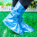 Shoes Cover Men and Women Waterproof Thick Rainproof Non-slip Rubber Tube Riding Adjustable Shoe Cover Blue Pinkcolor