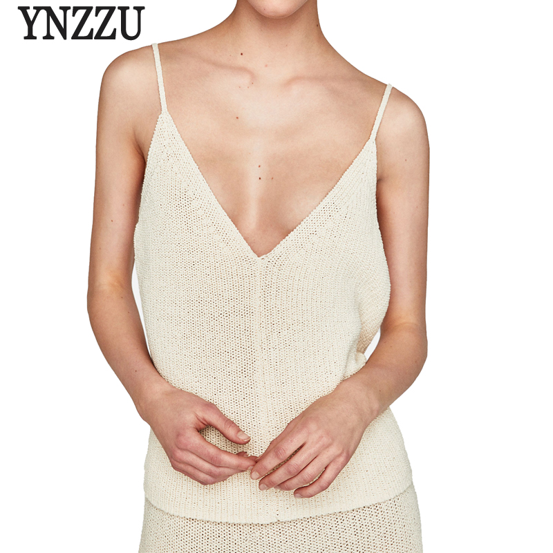 YNZZU Knitted Camis Sexy Tank Top Women 2018 Summer New Solid V Neck Spaghetti Strap Backless Female Camisole Tops YT355