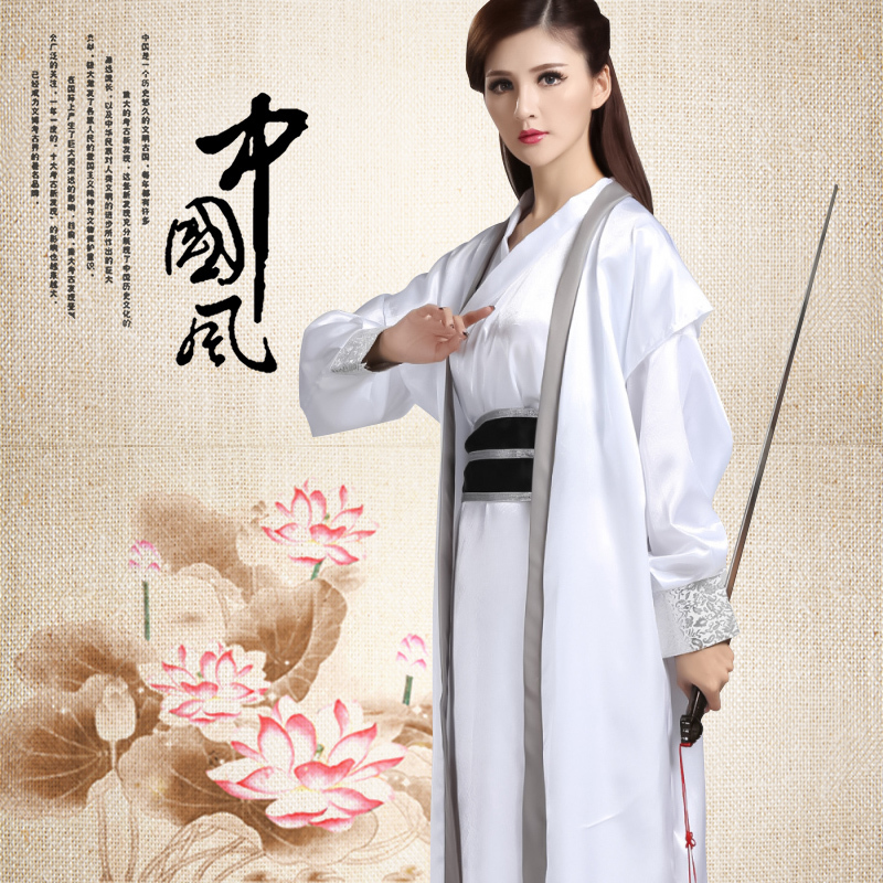 White Hanfu For Men/Women Cosplay Costume Ancient Heroes Clothing Ethnic Traditional Clothes Chinese Hanfu Stage Costume BL1810