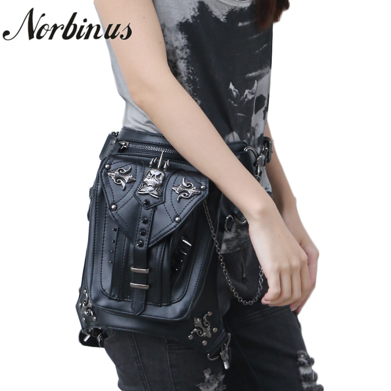 Norbinus PU Leather Women Shoulder Bags Steampunk Waist Hip Packs Female Skull Messenger Crossbody Bags Holster Drop Leg Bag Sac halloween skull printing women crossbody shoulder bag pu leather skull design women messenger bags handbag and purses