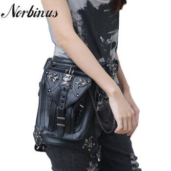 Norbinus PU Leather Women Shoulder Bags Steampunk Waist Hip Packs Female Skull Messenger Crossbody Bags Holster Drop Leg Bag Sac