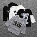 SY095 Весна осень мальчиков одежда хлопок письмо футболка улыбка тис дети одежда для новорожденных baby девушки топы детская одежда