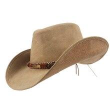 100% Sombrero de cuero de vaquero Unisex los hombres y las mujeres Sombrero  occidental para señora papá Fedora Sombrero Hombre C.. ce3f8bbcdfa