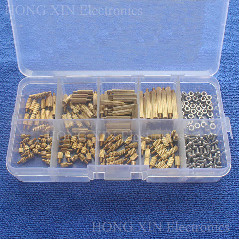 260 Cái/M2 PCB Threaded Brass Nam Nữ Standoff Spacer Board Hex Vít Đai Ốc Assortment Box kit set với nhựa Box Hollow