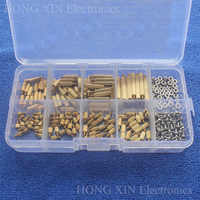 260 pièces/M2 PCB fileté en laiton mâle femelle entretoise entretoise conseil vis hexagonales écrou assortiment boîte kit avec boîte en plastique creux