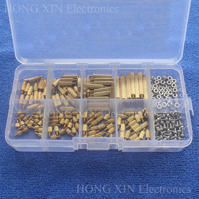 260Pcs/M2 PCB Threaded Brass Male Female Standoff Spacer Board Hex Screws Nut Assortment Box kit set with Plastic Box Hollow