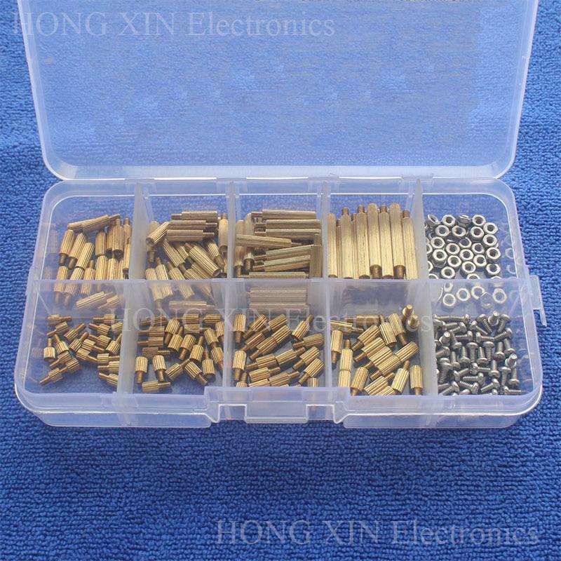 260Pcs/M2 PCB Threaded Brass Male Female Standoff Spacer Board Hex Screws Nut Assortment Box Kit Set With Plastic Box Hollow