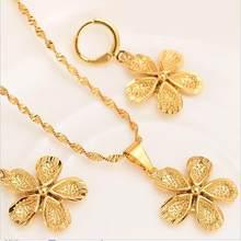 14 k Ince Katı Altın GF Avrupa Çiçek Takı setleri Gelin Takı kolye kolye Küpe kadınlar şanslı