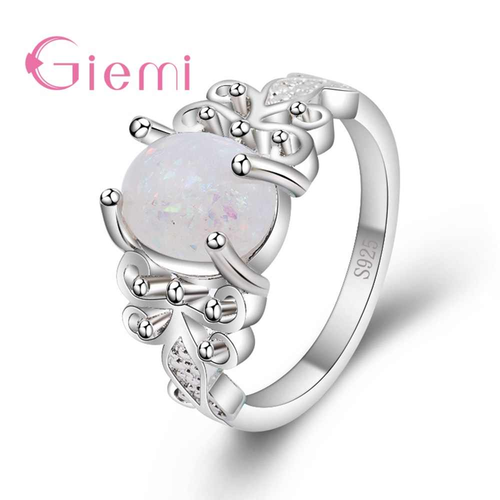 New Fashion 925 Sterling Silver Geometric Lace Ring With Oval   Opal For Women Girls Party Engagement Jewelry