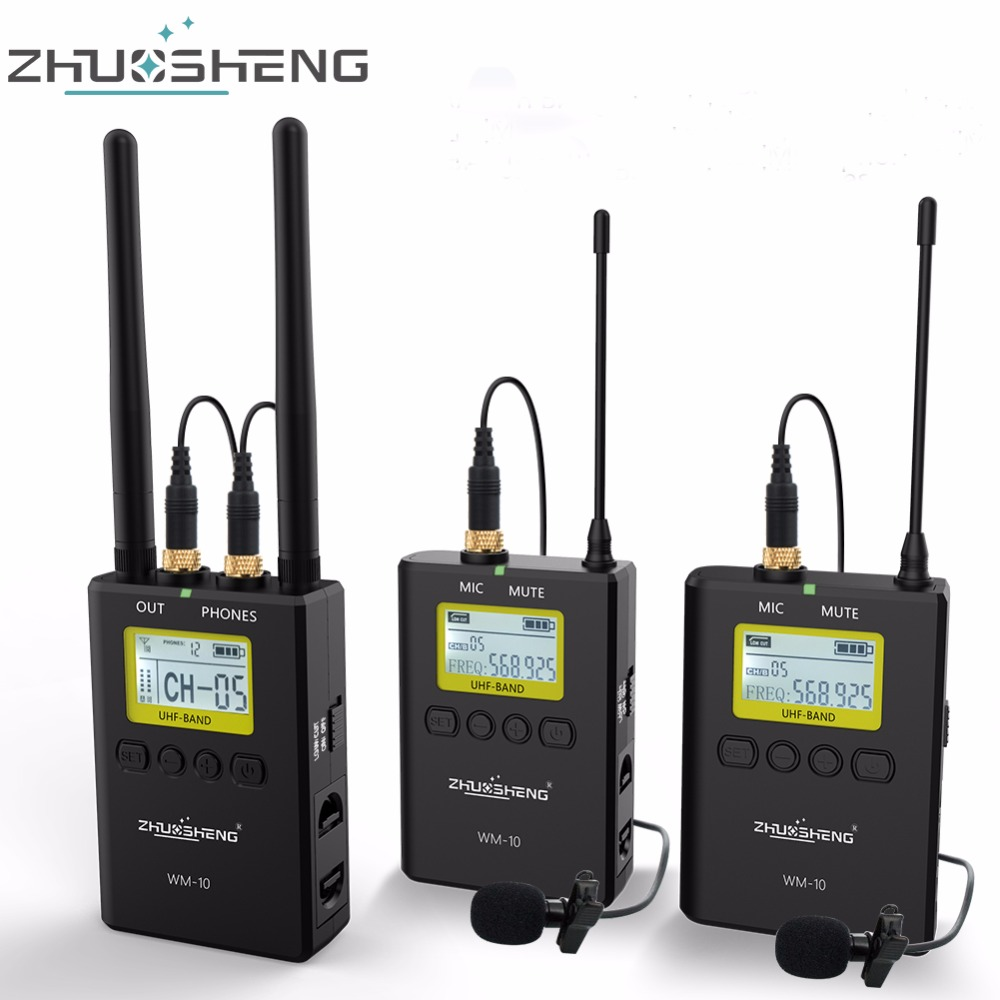 zhuosheng wm 10 wireless lapel lavalier microphone system clip mic for camera canon nikon sony. Black Bedroom Furniture Sets. Home Design Ideas