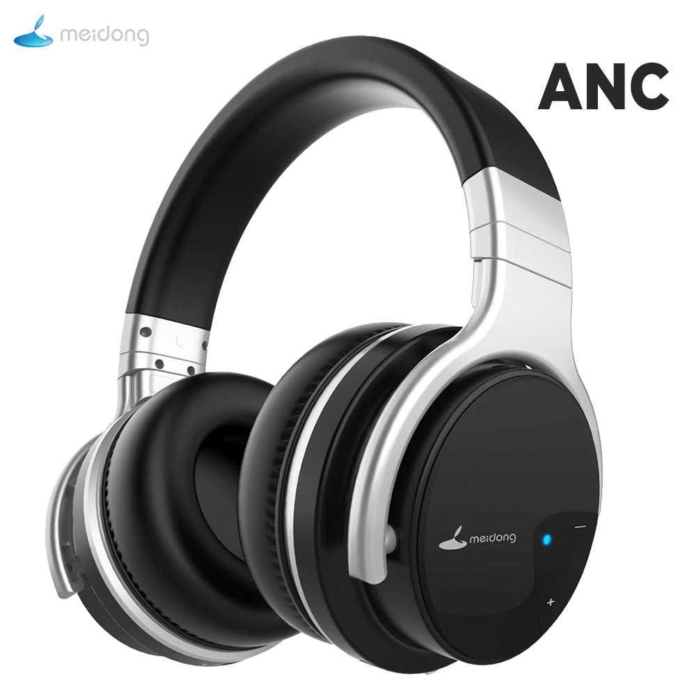 Meidong E7B активные Беспроводные наушники с шумоподавлением с микрофоном ANC bluetooth-гарнитура с высоким качеством глубоких басов