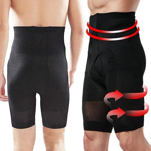 Men Short Fat Burning Flat Stomach Compression High Waist Shape Leggings