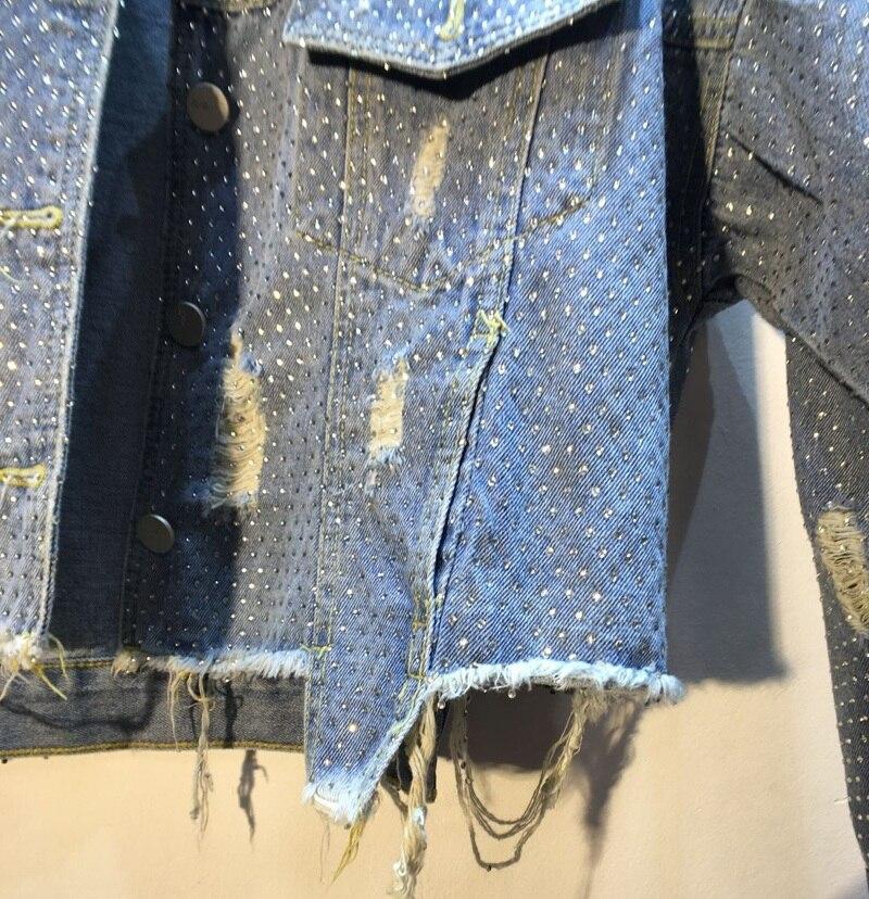 Jeans Courte En Forage Mince Lourd Femmes Printemps Manteau Denim Dames Cloutés À Nouveau Repasser De 2019 Lâche Bleu Trous Veste Vestes zWPqwBZqx