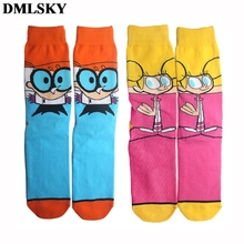 DMLSKY Dexters Lab Cartoon Funny Socks Women Men Fashion 3D Printed Cotton Novelty M3718