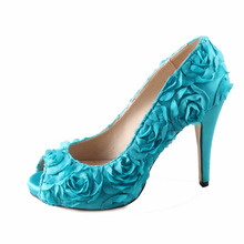 Handmade teal turquoise 3D rose flower fairy tale theme wedding font b shoes b font font