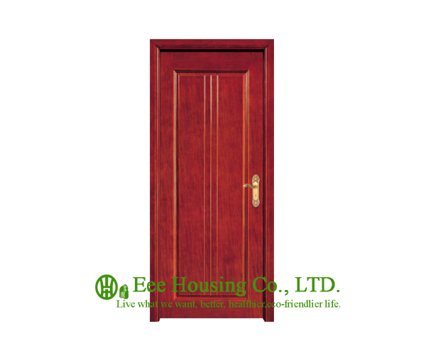 40mm Thickness Glazed Timber Veneer Door For Apartment, Swing Type Door, Inward & Outward Opening Entry Door, MDF Timber Door