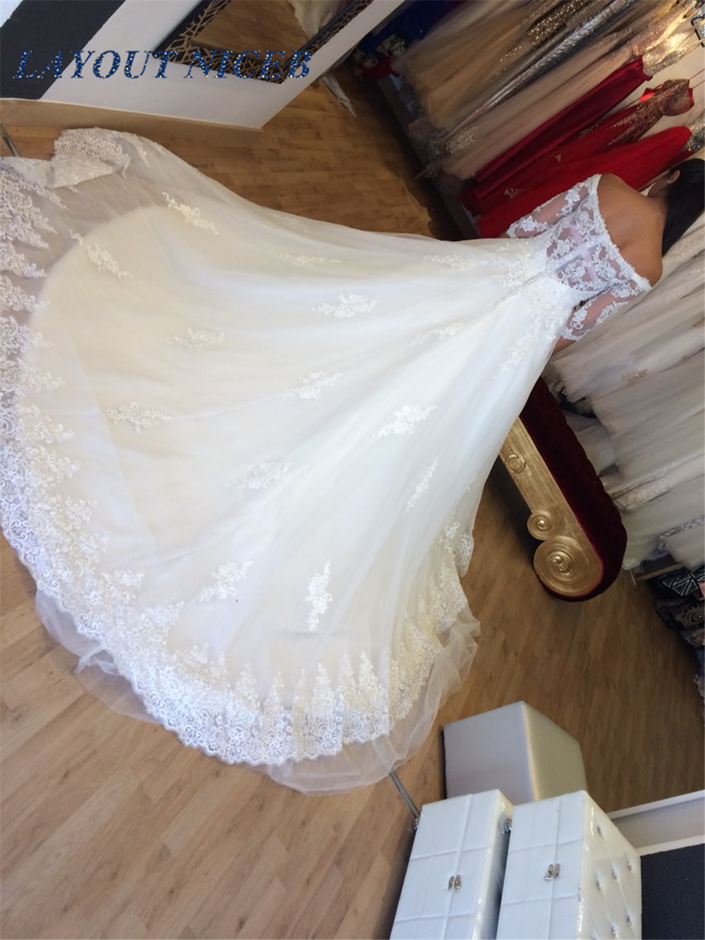 Boat Neck Vestidos de Novia Lace Half Sleeves Wedding Dress Ball Gown Vintage Wedding Gown Robe de mariage 2019 Bridal Gown in Wedding Dresses from Weddings Events